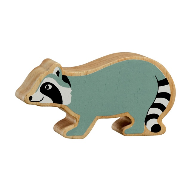 A chunky wooden grey raccoon toy figure with a natural wood edge