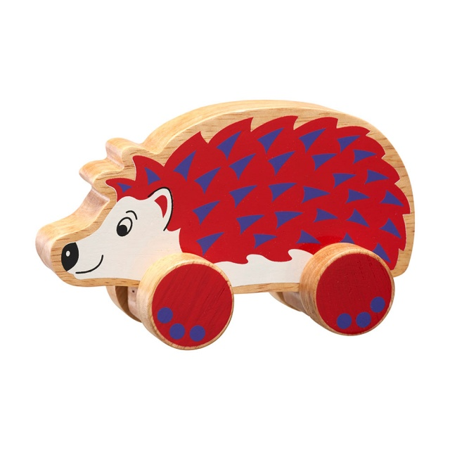 Chunky natural wood red and purple hedgehog on wheels push along