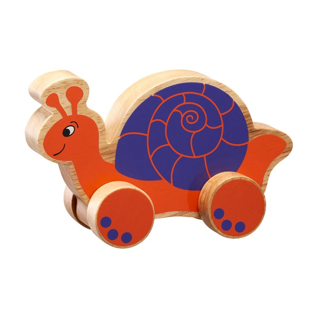 Chunky natural wood orange and purple snail on wheels push along
