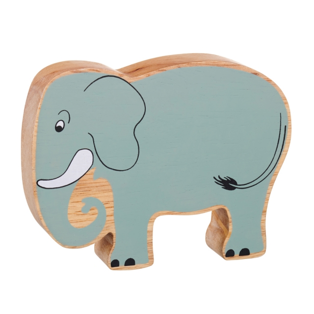 A chunky wooden painted elephant toy figure in profile with a natural wood edge