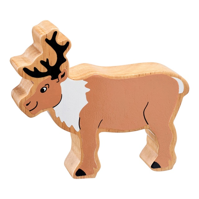 A chunky wooden brown and white reindeer figure in profile with a natural wood edge