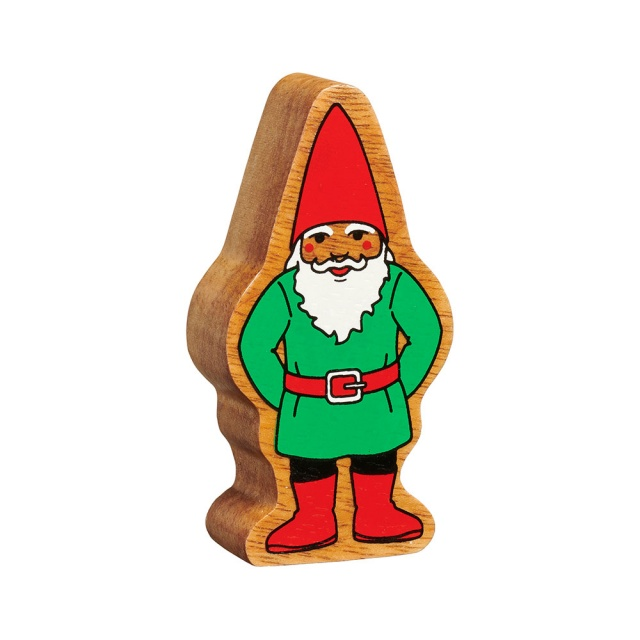 A chunky wooden green and red toy gnome figure in profile with a natural wood edge