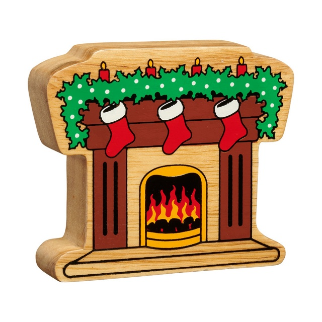 A chunky wooden fireplace with stockings figure in profile with a natural wood edge