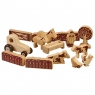 Set of 15 natural wood farm animals, people, troughs, hedges, gates and tractor