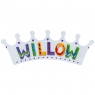 Large, flat wooden name plaque in white crown design with Willow spelt in multicoloured letters