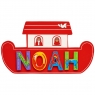 Small, flat wooden name plaque in red Noah's ark boat design with Noah spelt in multicoloured letter
