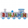 Large, flat wooden name plaque in silver train design with Benjamin spelt in multicoloured letters