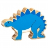 A chunky wooden blue stegosaurus dinosaur toy figure with a natural wood edge