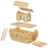 Exploded view of natural wood Noah's ark boat showing body, ramp, deck, house, roofs and ladder