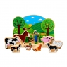 Farm set with wooden green semi circle backdrop and 9 colourful farm animals / characters