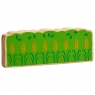 Colourful natural wood green hedge/crop toy for small world play with yellow wheat detailing