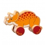 Chunky natural wood yellow and red triceratops on wheels push along