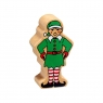A chunky wooden green elf toy figure in profile with a natural wood edge
