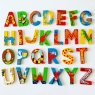 Set of 26 wooden letters in different colours displayed from A to Z