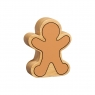 Reverse of chunky wooden gingerbread man toy figure in profile