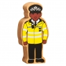 A chunky wooden yellow and black policeman toy figure with a natural wood edge