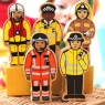 Policeman toy shown with alternative emergency service figure designs