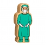 A chunky wooden turquoise surgeon toy figure with a natural wood edge